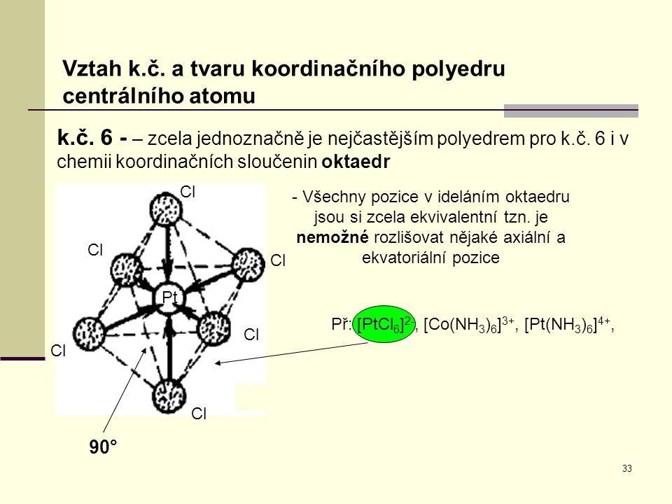 Př: [PtCl6]2-, [Co(NH3)6]3+, [Pt(NH3)6]4+,